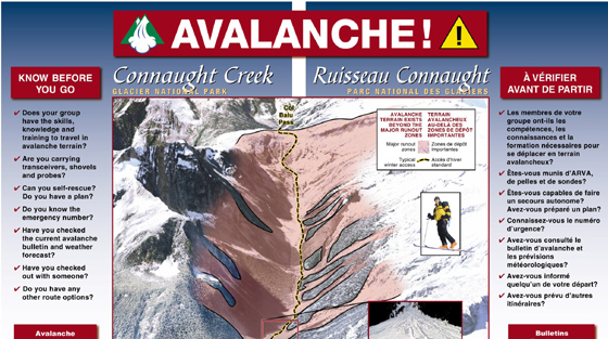 Colour illustration of avalanche terrain map with dangerous areas highlighted and tips to stay safe.