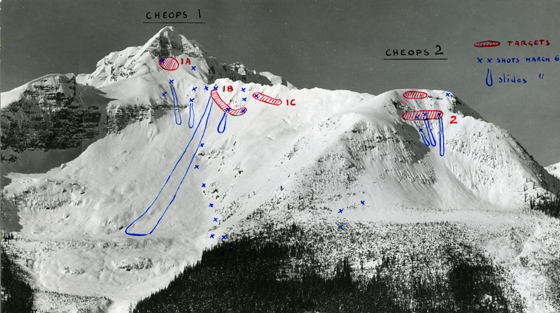 Black and white photograph of mountains with blue and red pen annotations showing slidepaths and mortar targets.