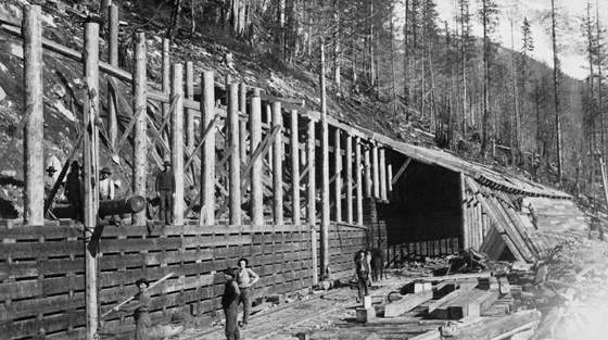 6+ men pose for black and white photograph during construction of wooden railway snowshed on mountain slope in summer.