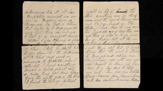 Photograph of handwritten letter in 4 pieces.